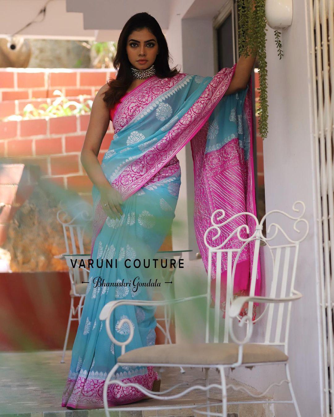 Stunning ice blue and pink color combination benarasi saree. 2021-06-27