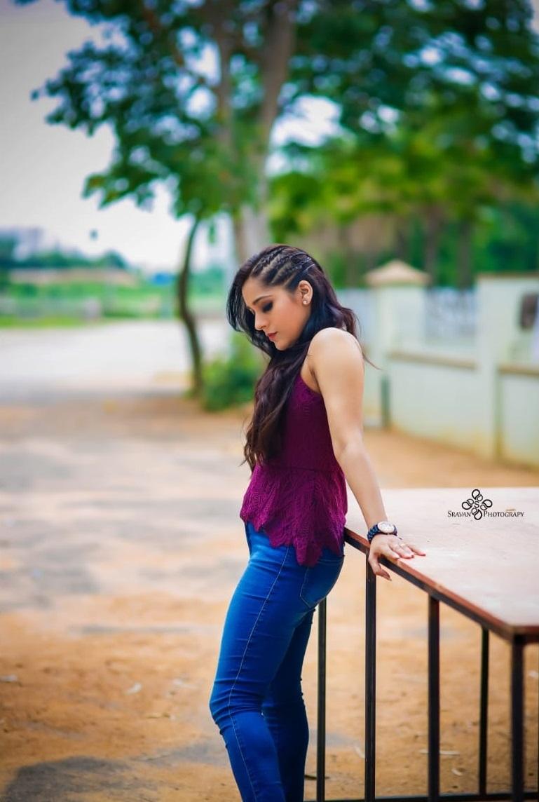 Beautiful actress Rashmi Rashmi gautham in denim pant and purple top. 2021-06-28