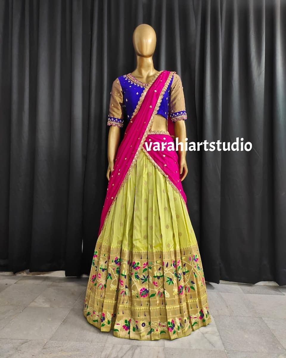 Beautiful paithani lehenga and blue color blouse with net dupatta. Blouse with hand embroidery work.  2021-06-28