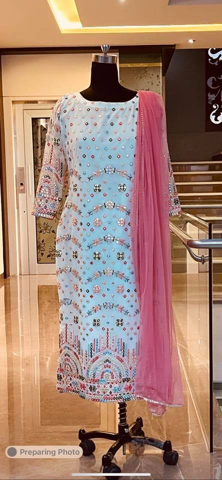 Beautiful Georgette kurti with mirror work. Fabric : Georgette mirrors . Price : 5000 INR. To order WhatsApp 7013728388 2021-07-01