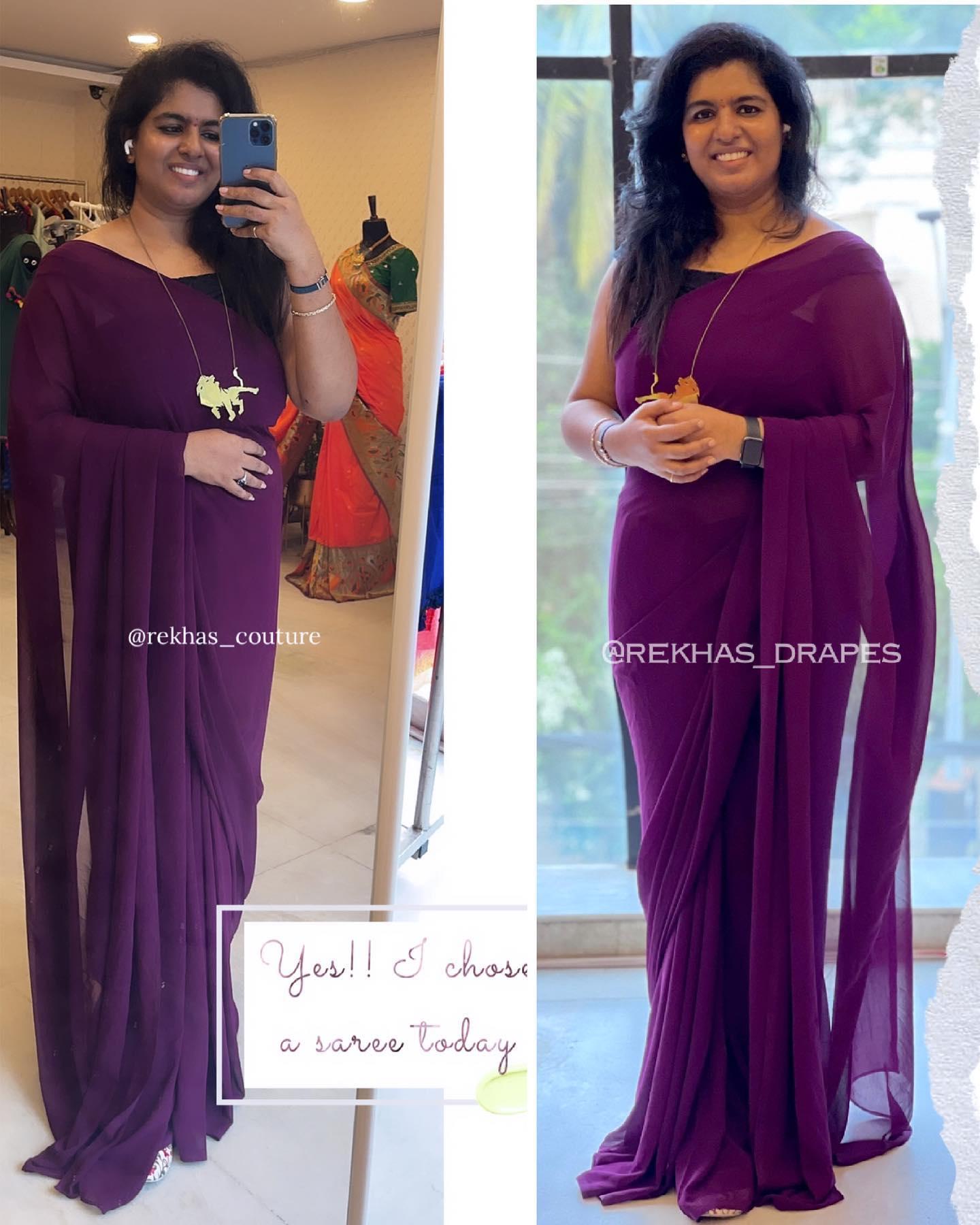 Plain georgette saree paired with black velvet off shoulder patterned blouse and lion pendant chain  D.M. for details