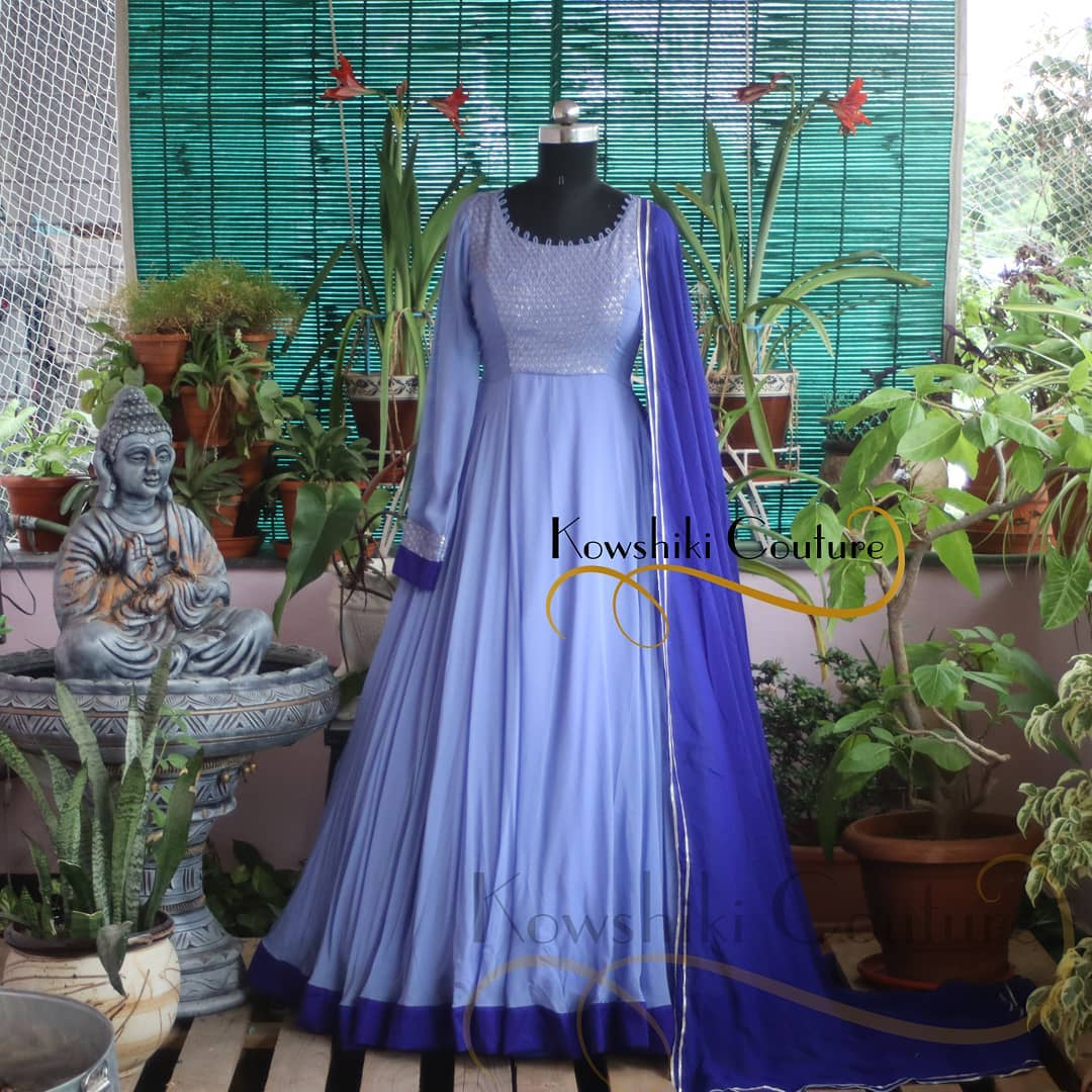 Flowy Long frock with sequins embroidered Yoke. 2021-07-01