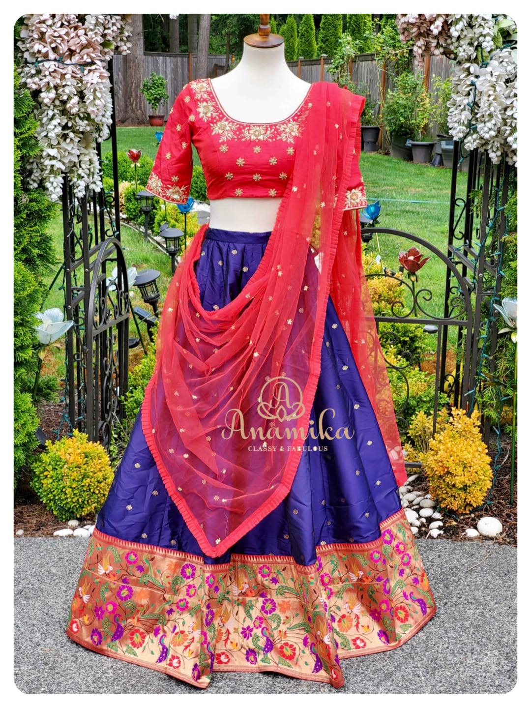 This festive season glam up in this beautiful paithani bordered lehenga .. contrast blouse and dupatta !  DM 360-545-3636 for inquiries 2021-07-02