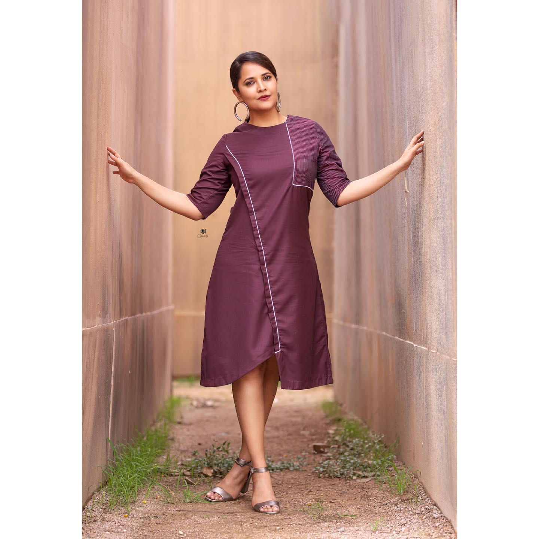 Beautiful actress Anasuya Bardwaj in purple color knee length dress. 2021-07-02