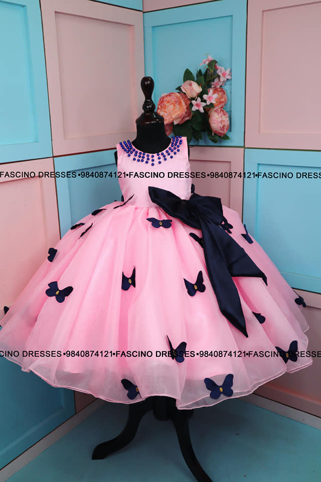 A baby pink with Navy Blue  ballgown from Fascino