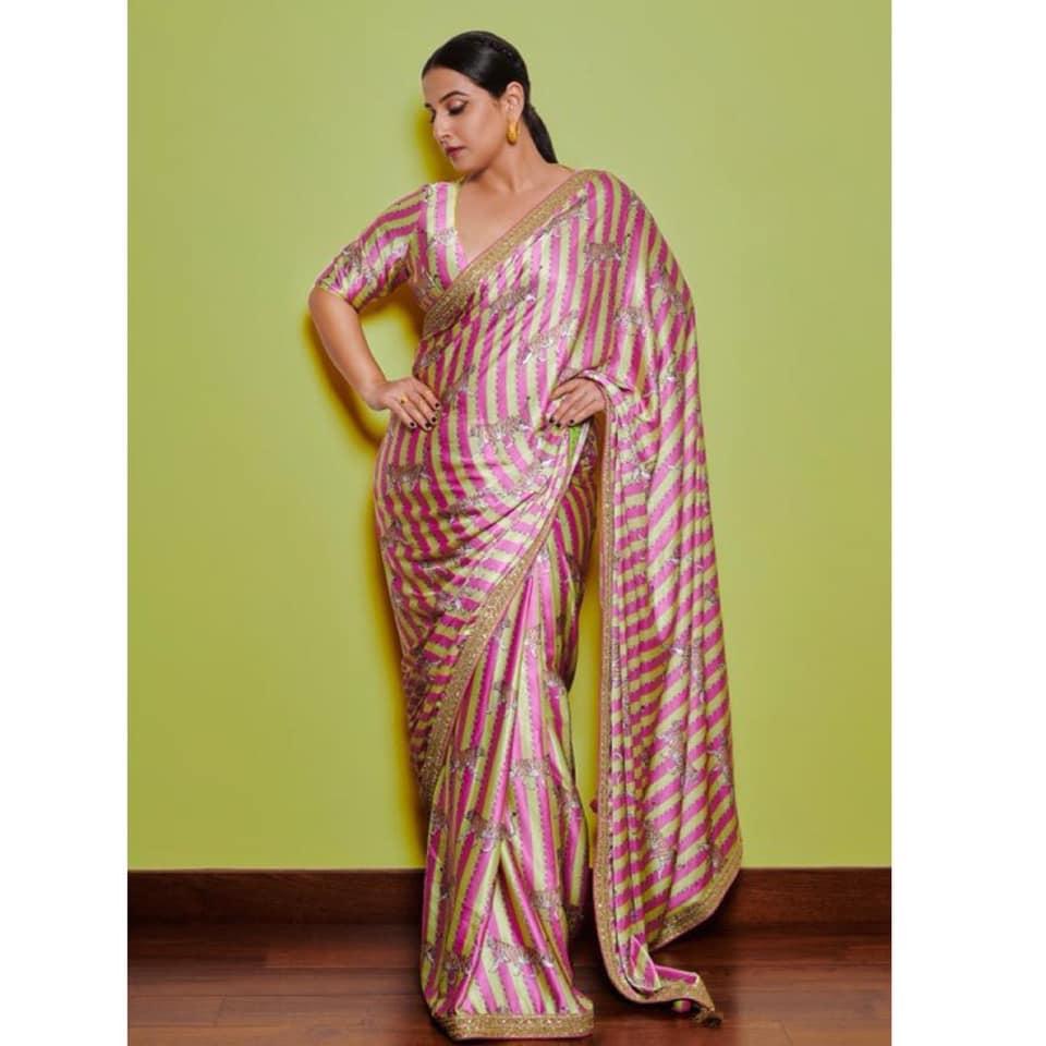 Beautiful actress Vidya balan in Tiger print striped saree fro Sherini promotions. 2021-07-02