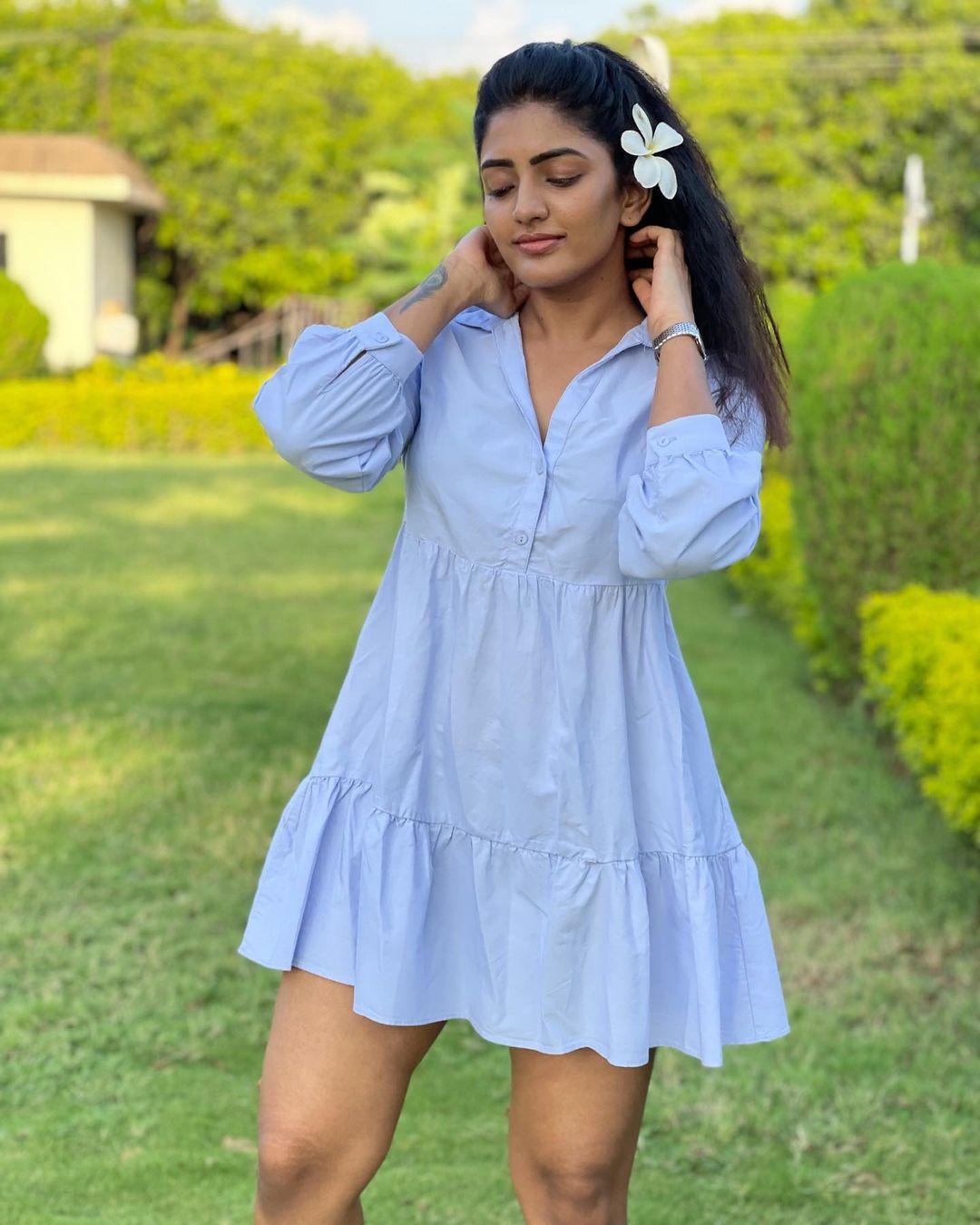 Beautiful actress Eesha Reba in blue color knee length shirt dress. 2021-07-02