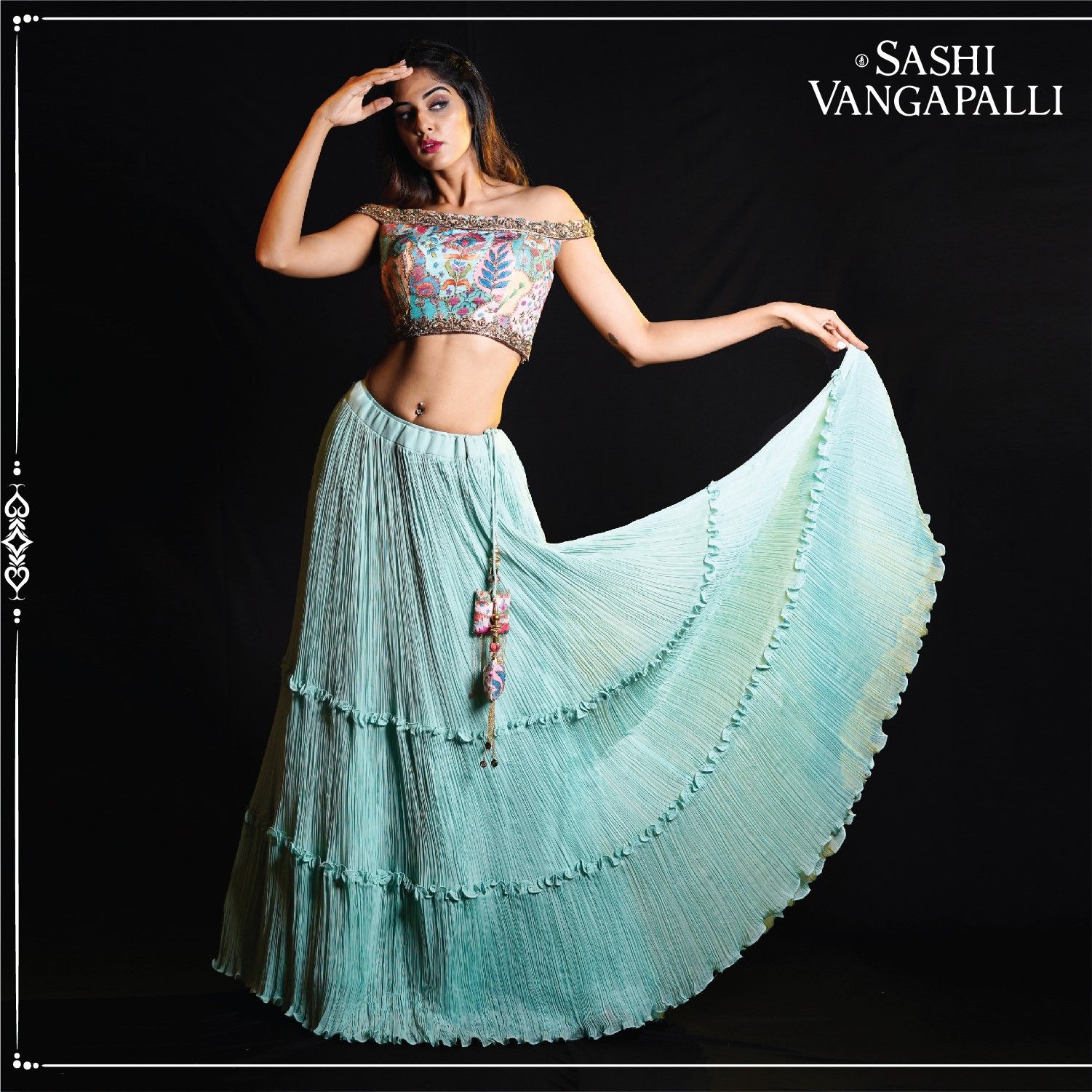 Crushing over this offbeat attire. Beautiful sea green color pleated skirt and off shoulder blouse. Ditch the mundane ladies and get aboard on the trendy way.  newest edit of celebratory ensembles of fun and frolic attire.  For orders: +91 9000777796 2021-07-03