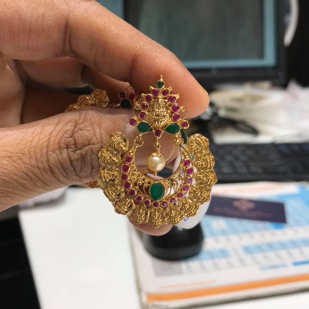 Beautiful 22k gold chaandbali with Lakshmi kasu hangings. 12 GMs hangings pair. 2021-07-04