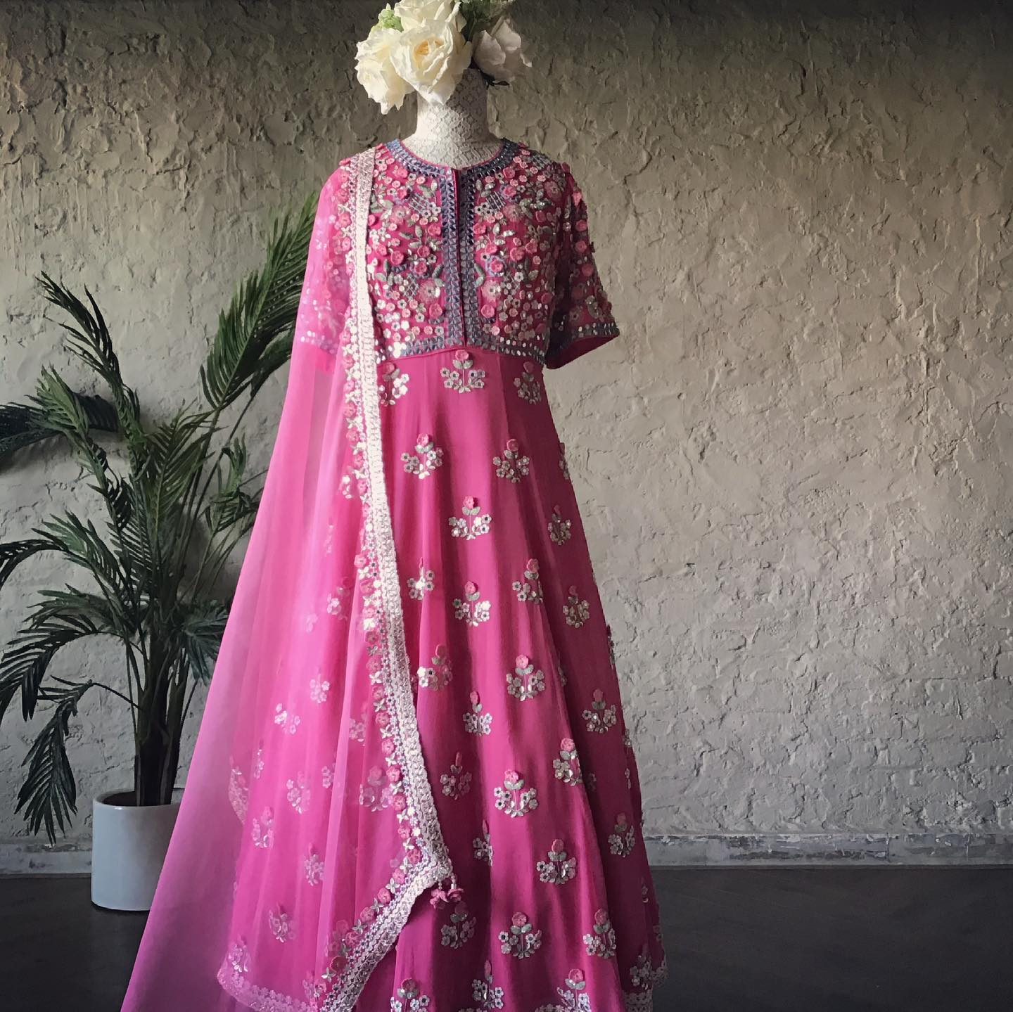 The The Hiraya Anarkali! !  Stunning blush pink color floor length anarkali with floral classy hand embroidery work.  2021-07-06