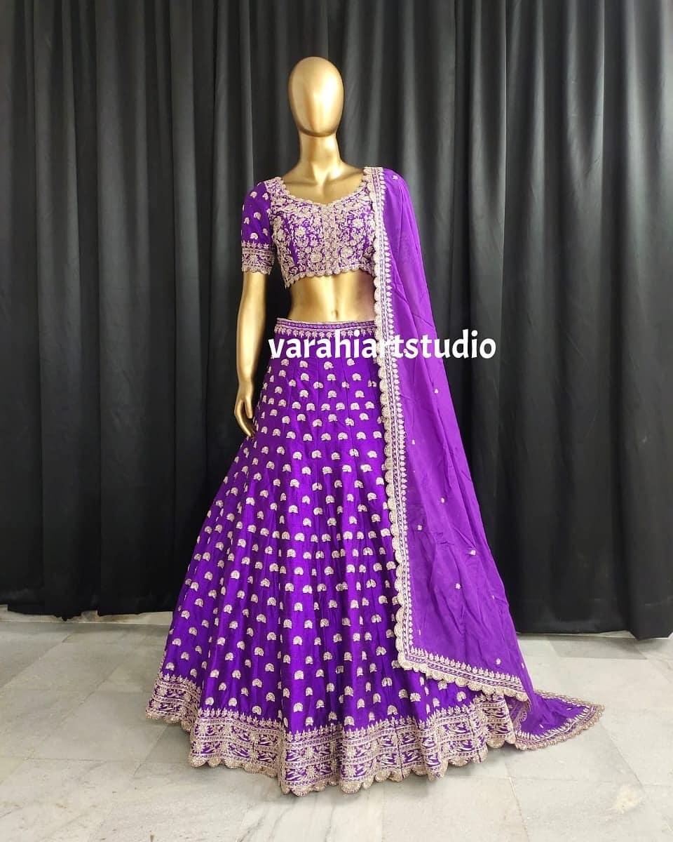 Handi crafted Bridal Lehengha !! Stunning purple color bridal lehenga and blouse with dupatta. Bridal lehenga set with silver thread maggam work. 2021-07-06