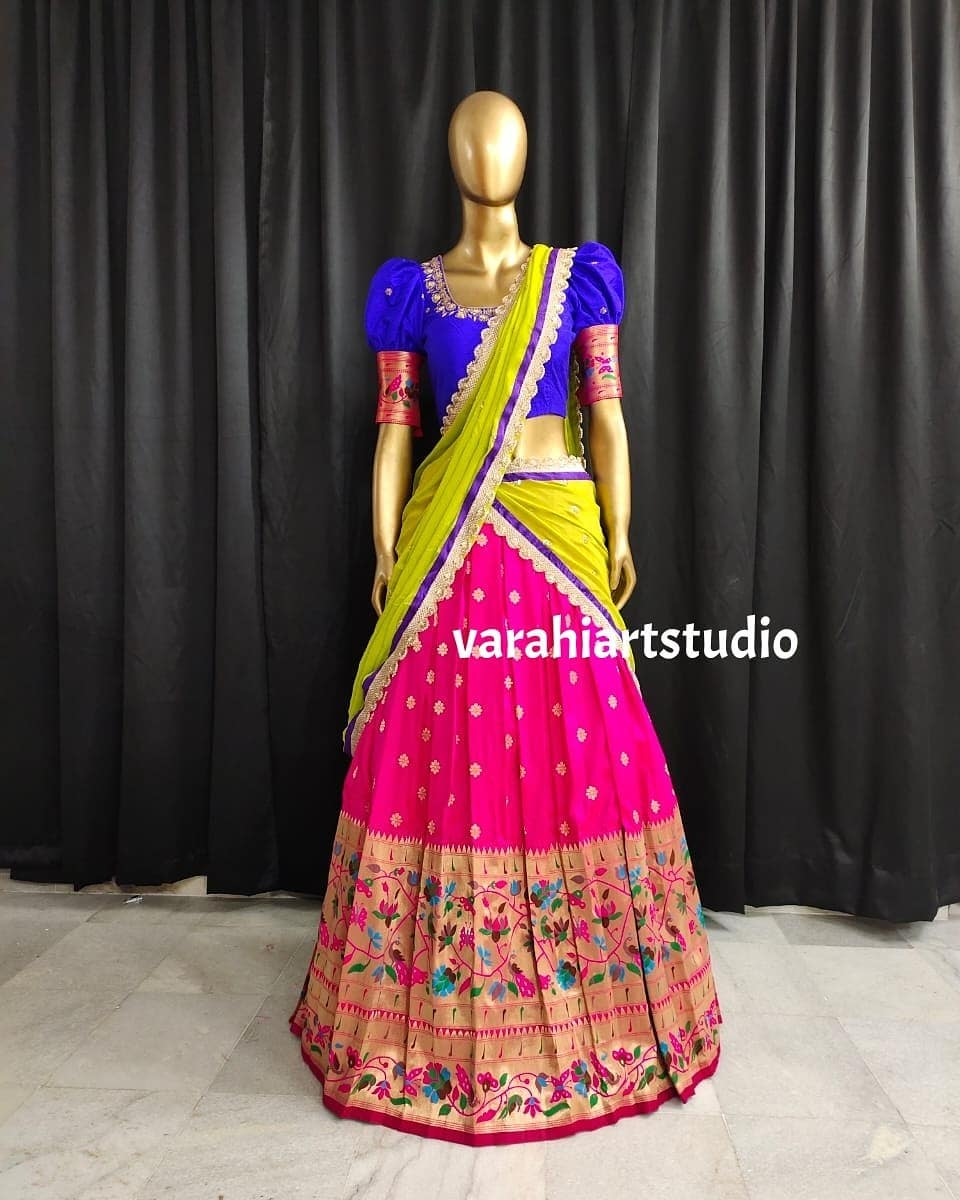 Gorgeous blush pink color paithani pattu lehenga and royal blue color puff sleeve blouse with net dupatta. Blouse with paithani sleeves. 2021-07-06