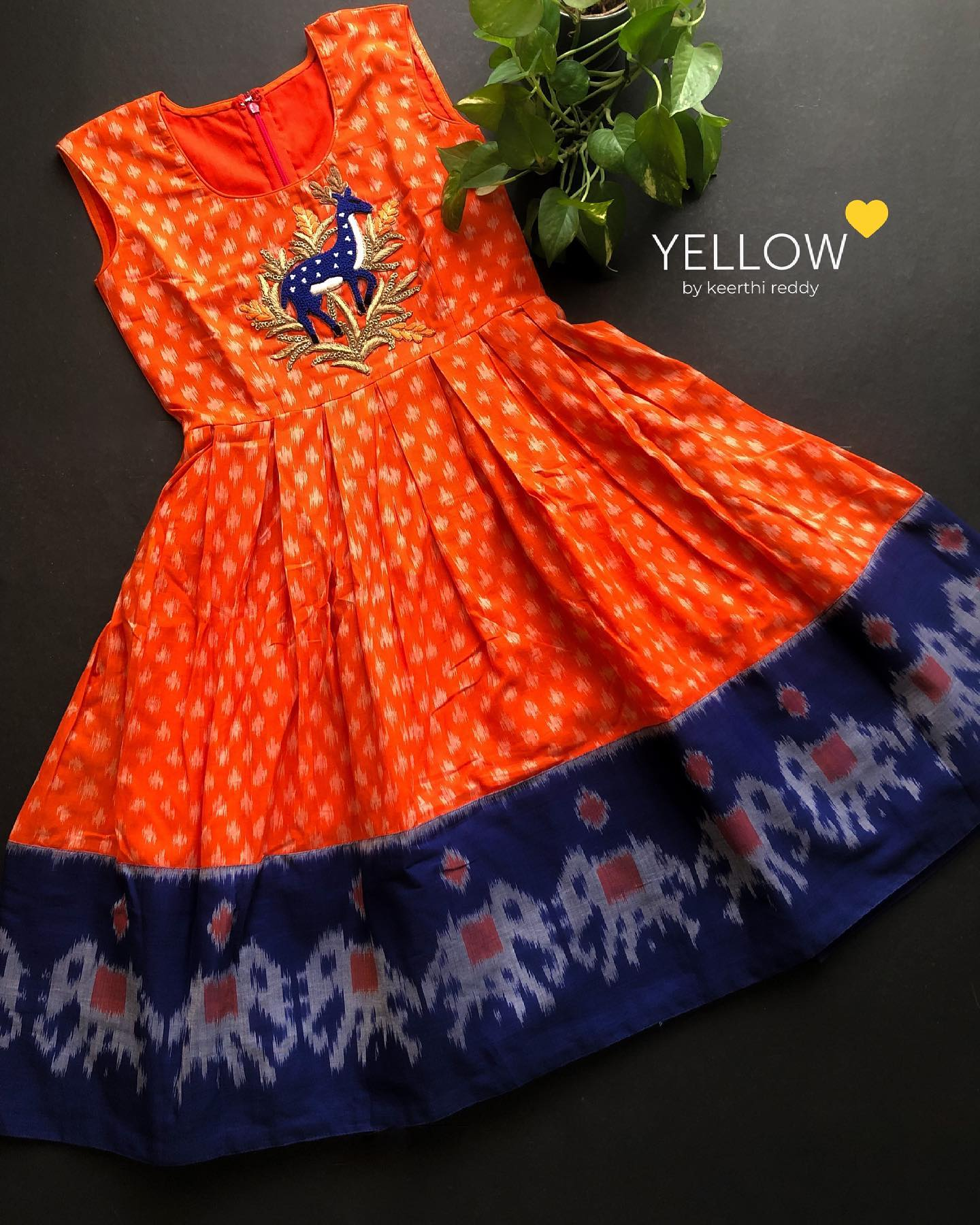 Cotton Ikkat handloom kids dress in beautiful combo readily available for 3-5 years . . . Kindly WhatsApp  at 7995038888 for placing orders . 2021-07-07