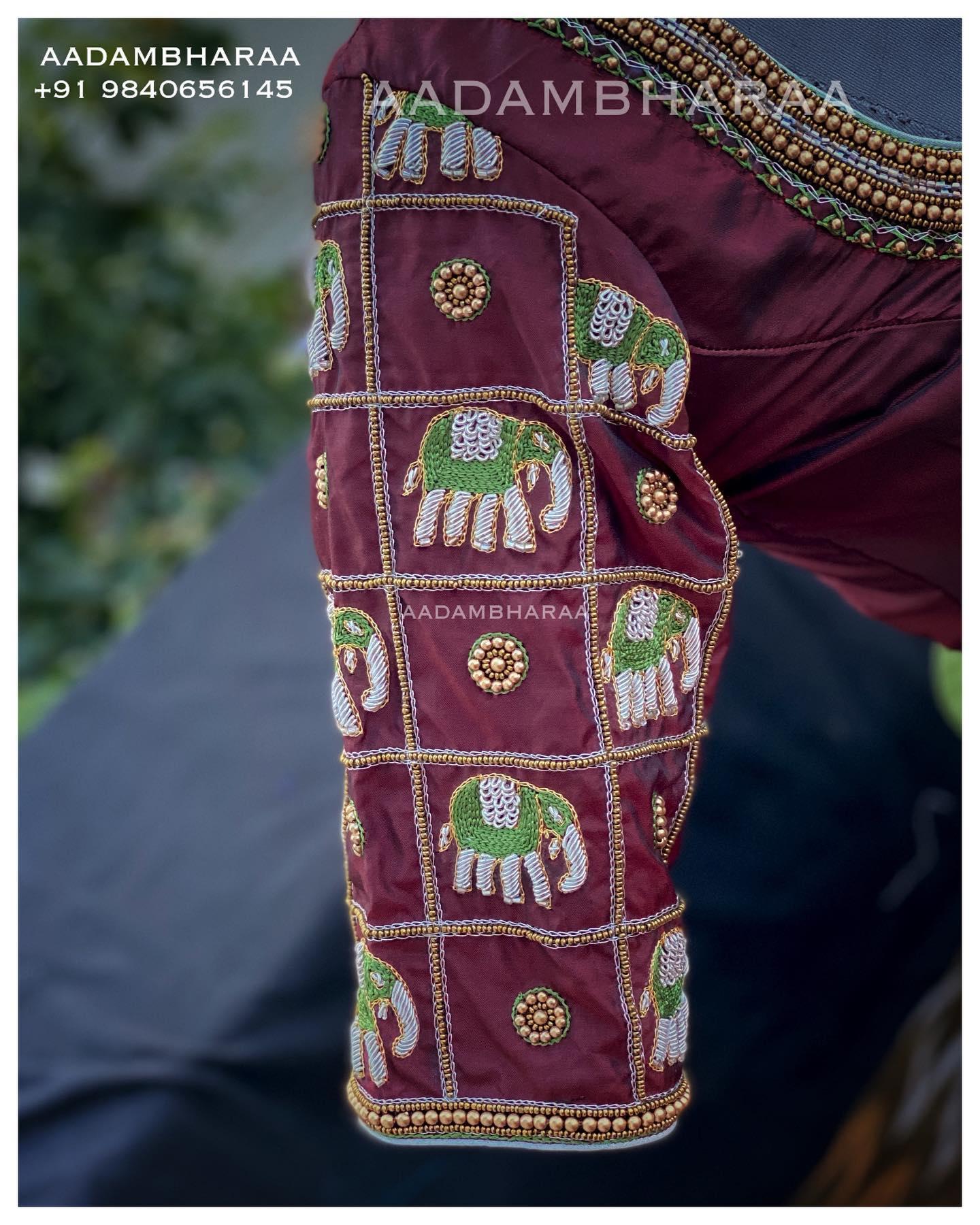 Maroon Bridal Blouse with Zardosi Embroidered  Elephant Motifs. 2021-07-07