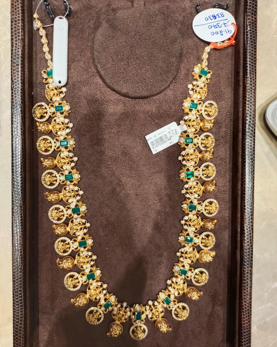 Stunning 22k gold long lakshmi haaram with lakshmi devi motif hangings. 2021-07-08