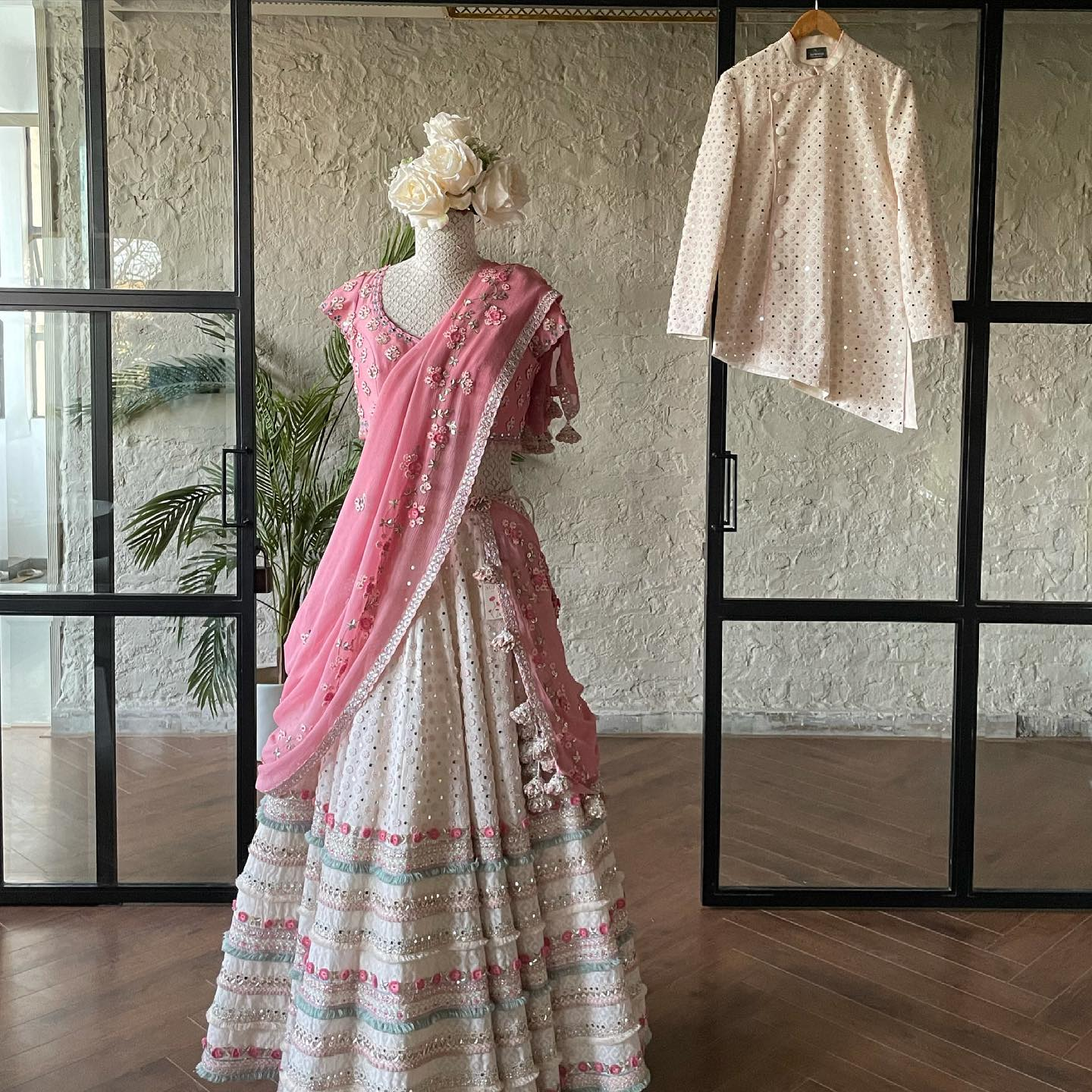 Who's this lovely pastel bride and groom. Beautiful pastel bridal lehenga and blouse with net dupatta. Bridal lehenga with hand embroidery work.   2021-07-08