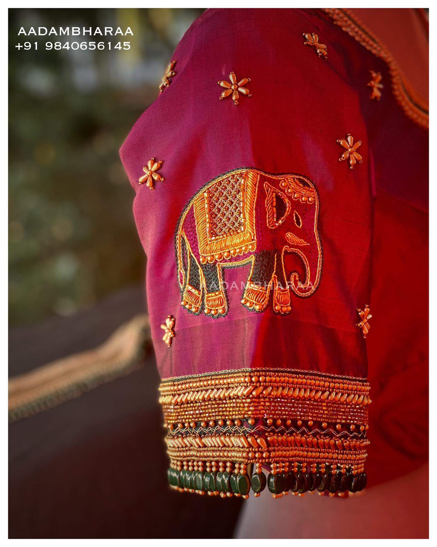 Elephant Embroidered Bridal Blouse. Gorgeous bridal blouse with elephant hand embroidery gold thread and bead maggam work.   2021-07-08