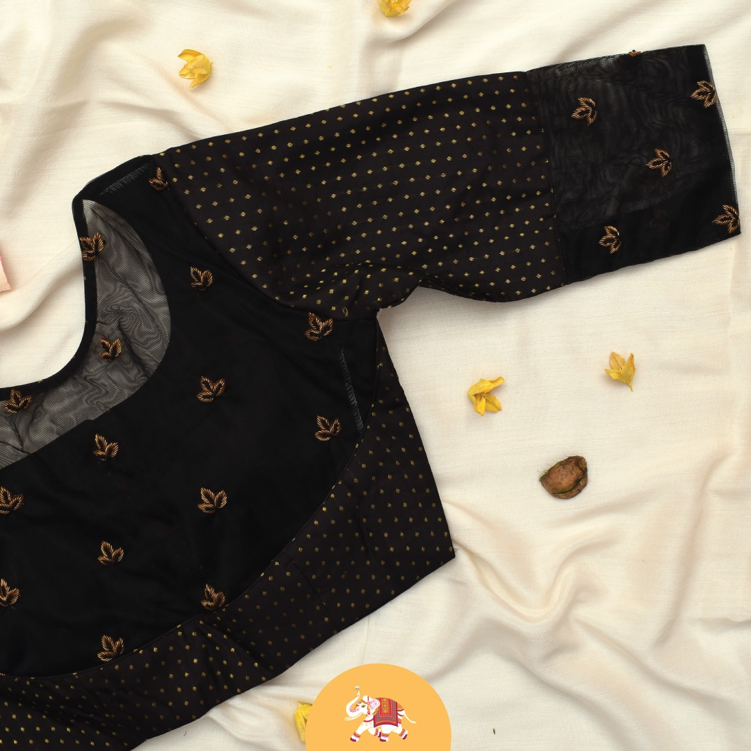 Details from exquisite black Kanchi silk blouse with simple French knots and zardozi embroidery. Customization at its best! Get gorgeous customized blouses for your special occasion.  2021-07-08