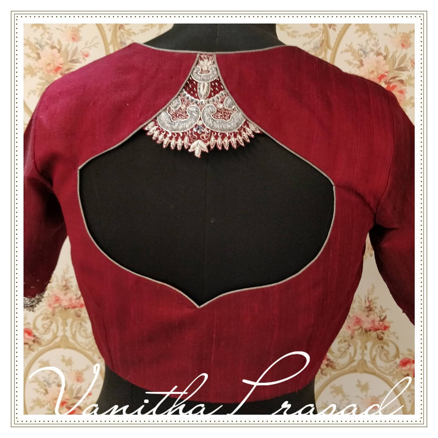 Beautiful wine color blouse back with silver thread detailing. 2021-07-09