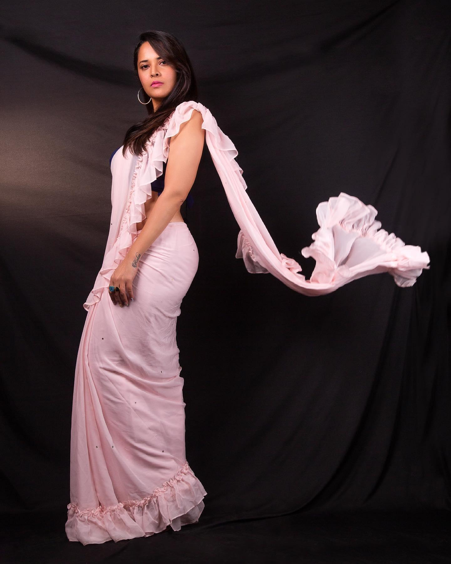 Beautiful actress Anasuya Bardwaj in blush pink color ruffle saree.  2021-07-09
