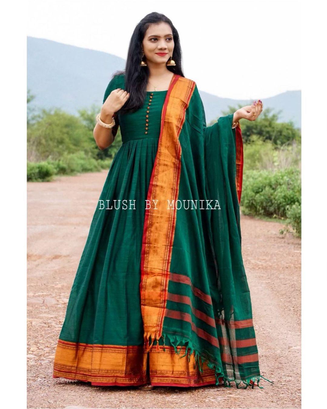 Poorvi. Price :  ₹3980.  Mercirised Handloom cotton dress with zari border paired with a Handloom dupatta with zari border. 2021-07-09