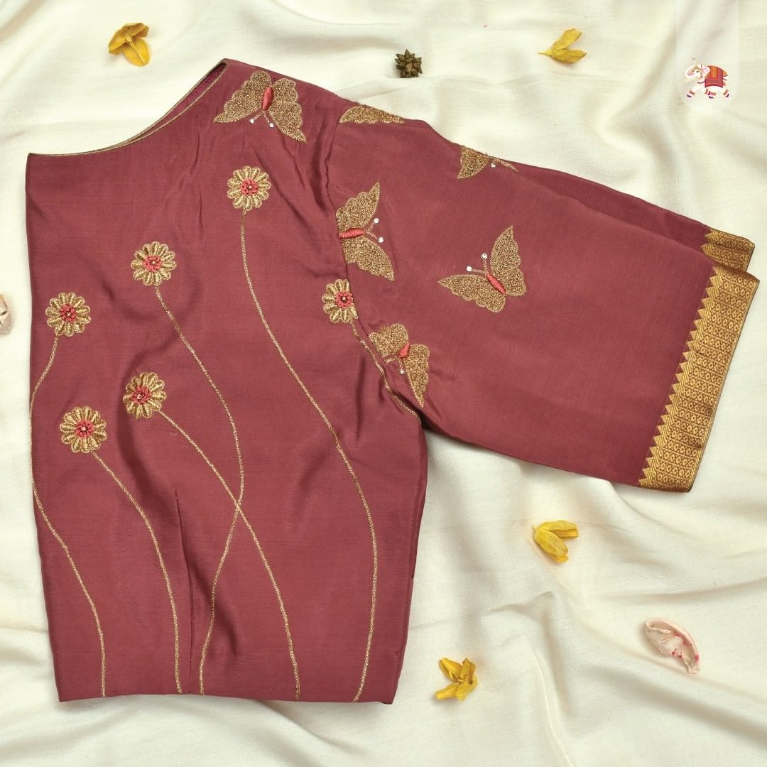 Customized blouse with simple yet adorable floral and butterfly embroidery blouse embroider. Customization at its best!  Get gorgeous customized blouses for your special occasion. Contact details in bio for booking an appointment! 2021-07-09