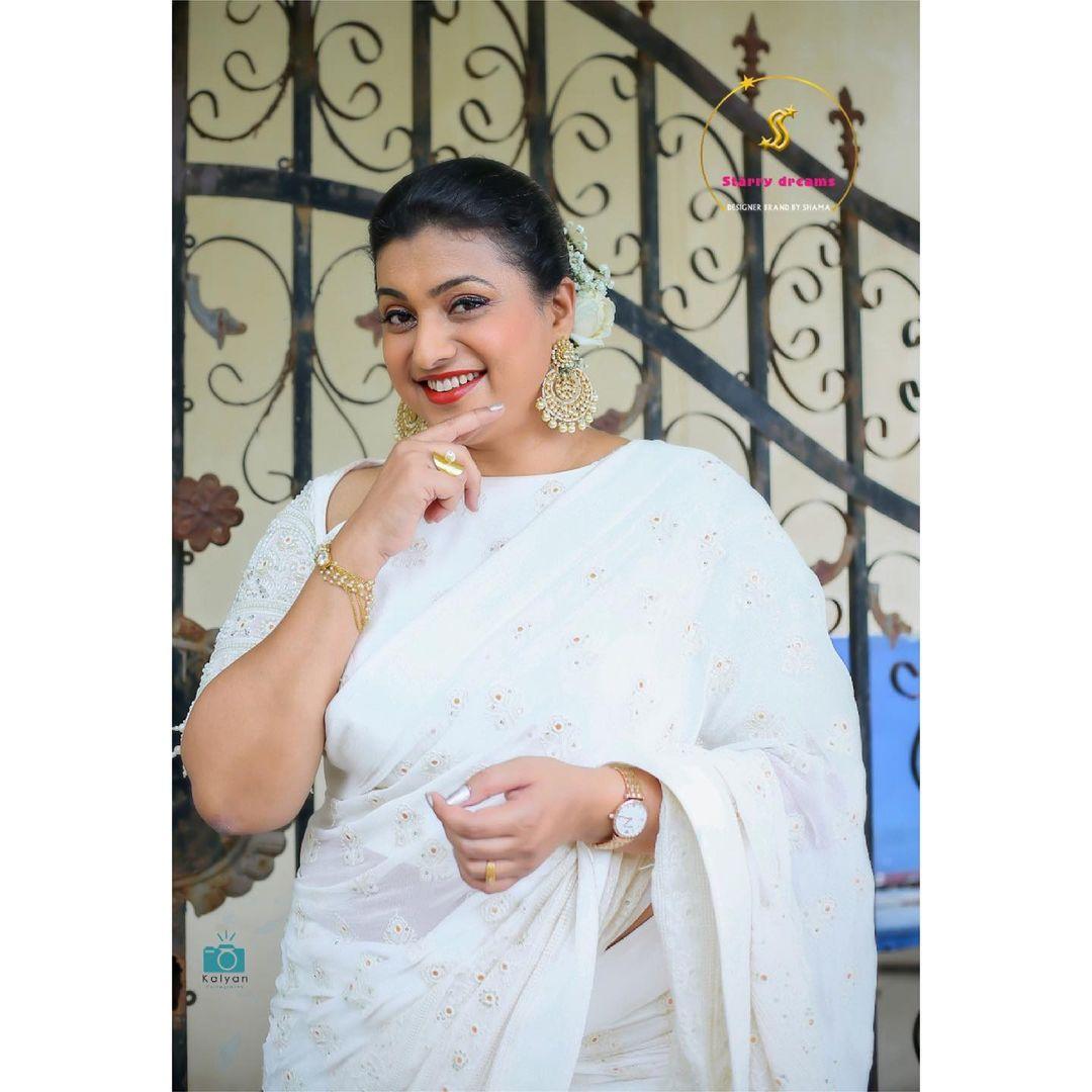 Gorgeous Roja Selvamani in Starry Dreams designer saree with thread work.  2021-07-09