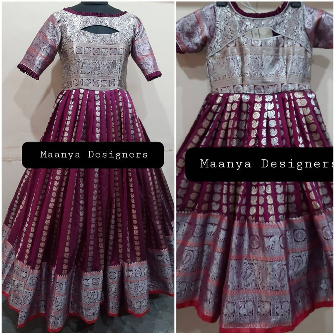 Custom made purple color silver pattu mom and daughter dresses. For price details contact/watsapp on +917799503713. 2021-07-10