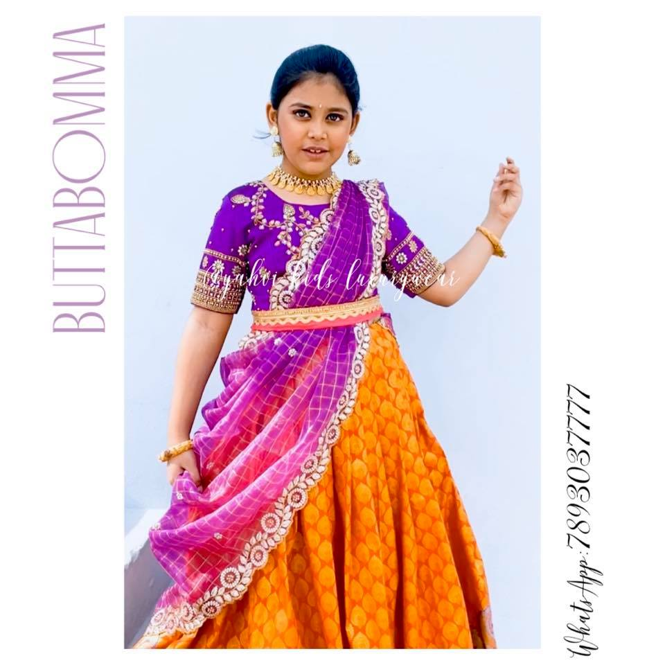 Butta bomma series . Kanchipattu lehangas avaialble in handpicked collection from new born to teen age .   For Ordere  whatsapp 7893037777. 2021-07-11
