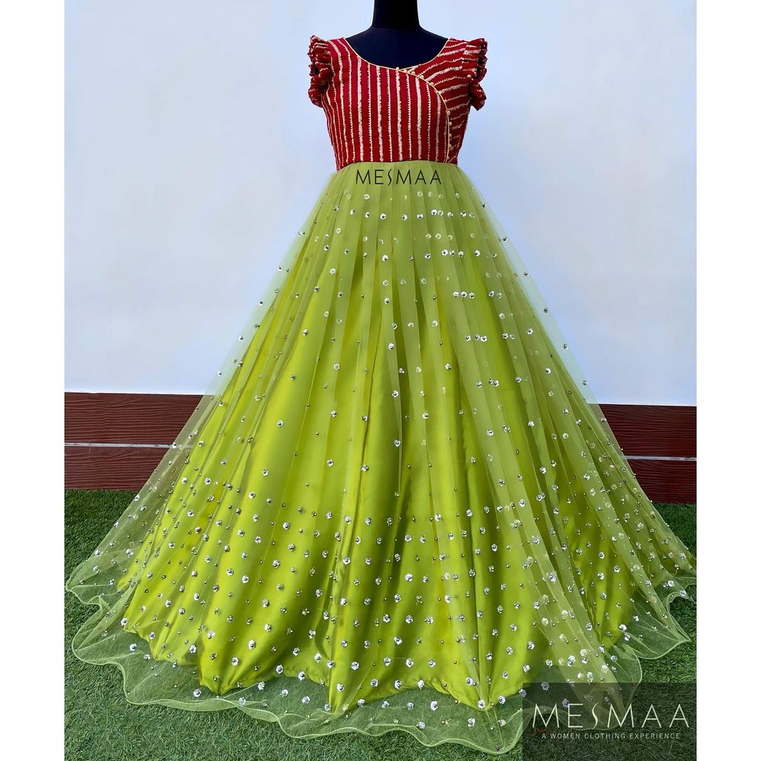 Sheer fabric gowns..!  Perfect for reception  sangeeth and photoshoots.!   2021-07-11