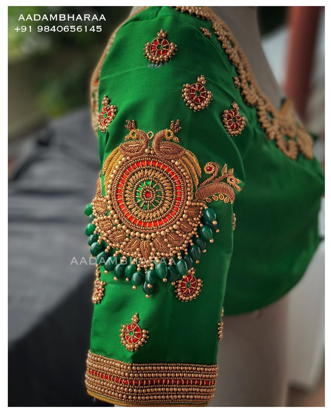 Style your Saree with Emerald bridal blouse studded with Kemp Kundan stones  Highlighted with beads and Zardosi . Contact  to Order yours +91 9840656145 . 2021-07-11
