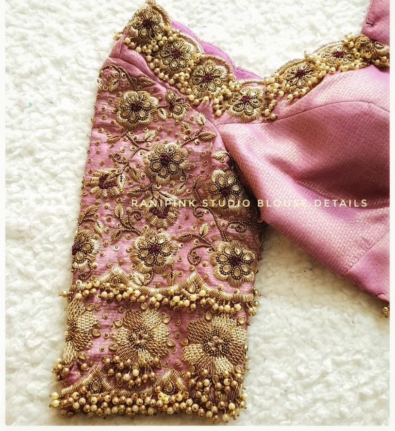 Stunning lavender brocade bridal blouse with floral hand embroidery heavy zardosi work.  2021-07-12