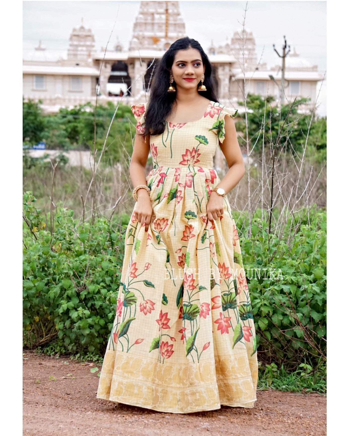 Chandanam. Price :  ₹4200/- Handloom Cotton Maxi Dress with Floral Print Zari checks and Zari border. Sleeves can be customized. 2021-07-12