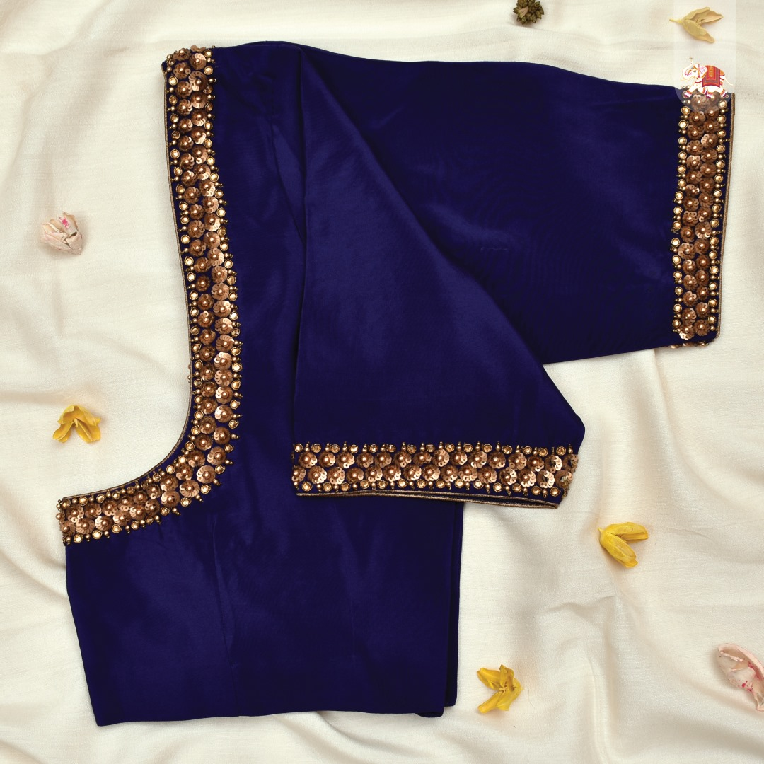 Simple yet elegant customized blouse with sequins and bead embroidery. Customization at its best! 2021-07-12