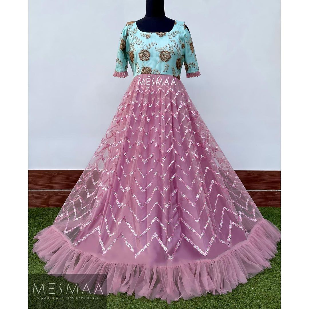 Sheer fabric gowns..!  Beautiful lavender and powder blue combination floor length long gown. Perfect for reception sangeeth and photoshoots.!  2021-07-12