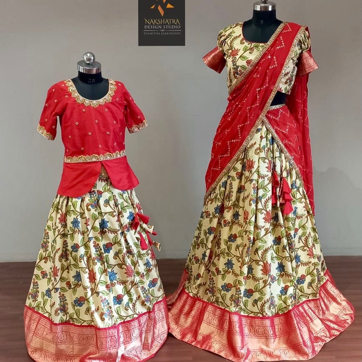 Kids pure silk  kalamkari printed lehangas with kanchi borders paired with handwork peplum style blouses and adults size lehanga voni available. We Can customise mom and daughter combo as per your requirement. 2021-07-13