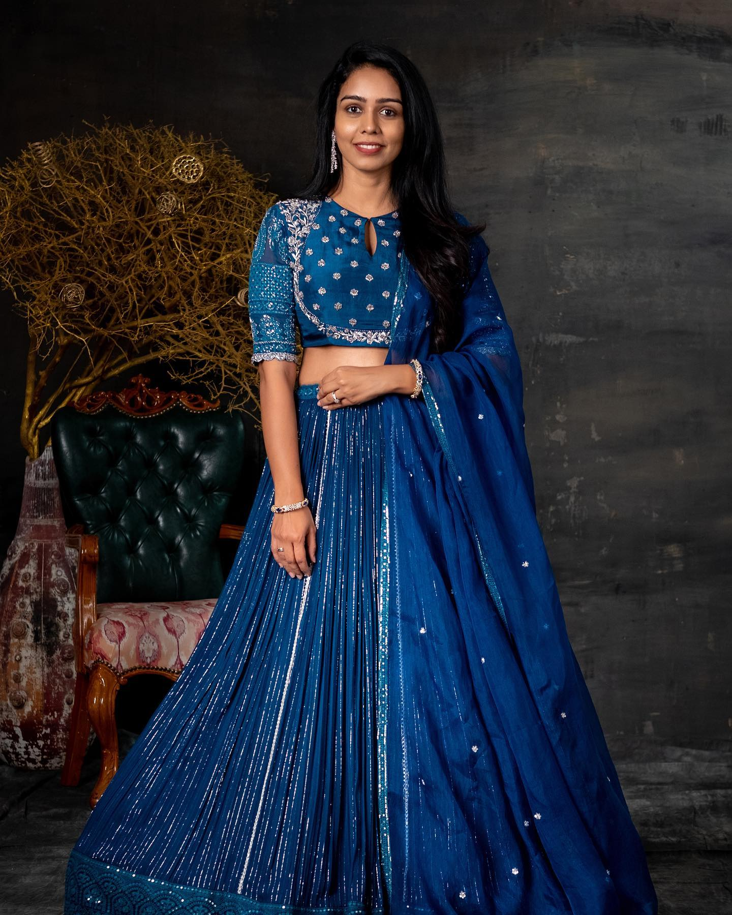 Pretty powder blue color bridal lehenga and blouse with classy hand embroidery sequin work.  2021-07-13