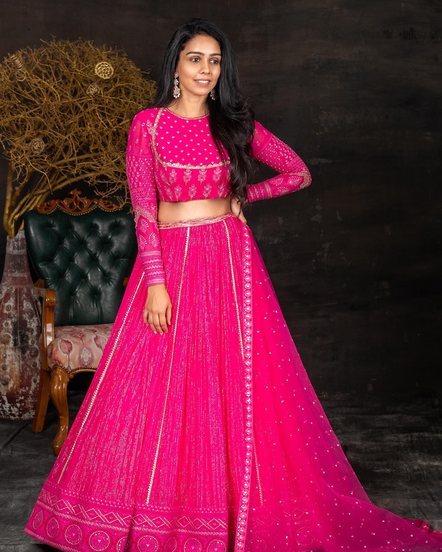 Gorgeous pink color bridal lehenga and blouse with classy hand embroidery sequin work.  2021-07-13