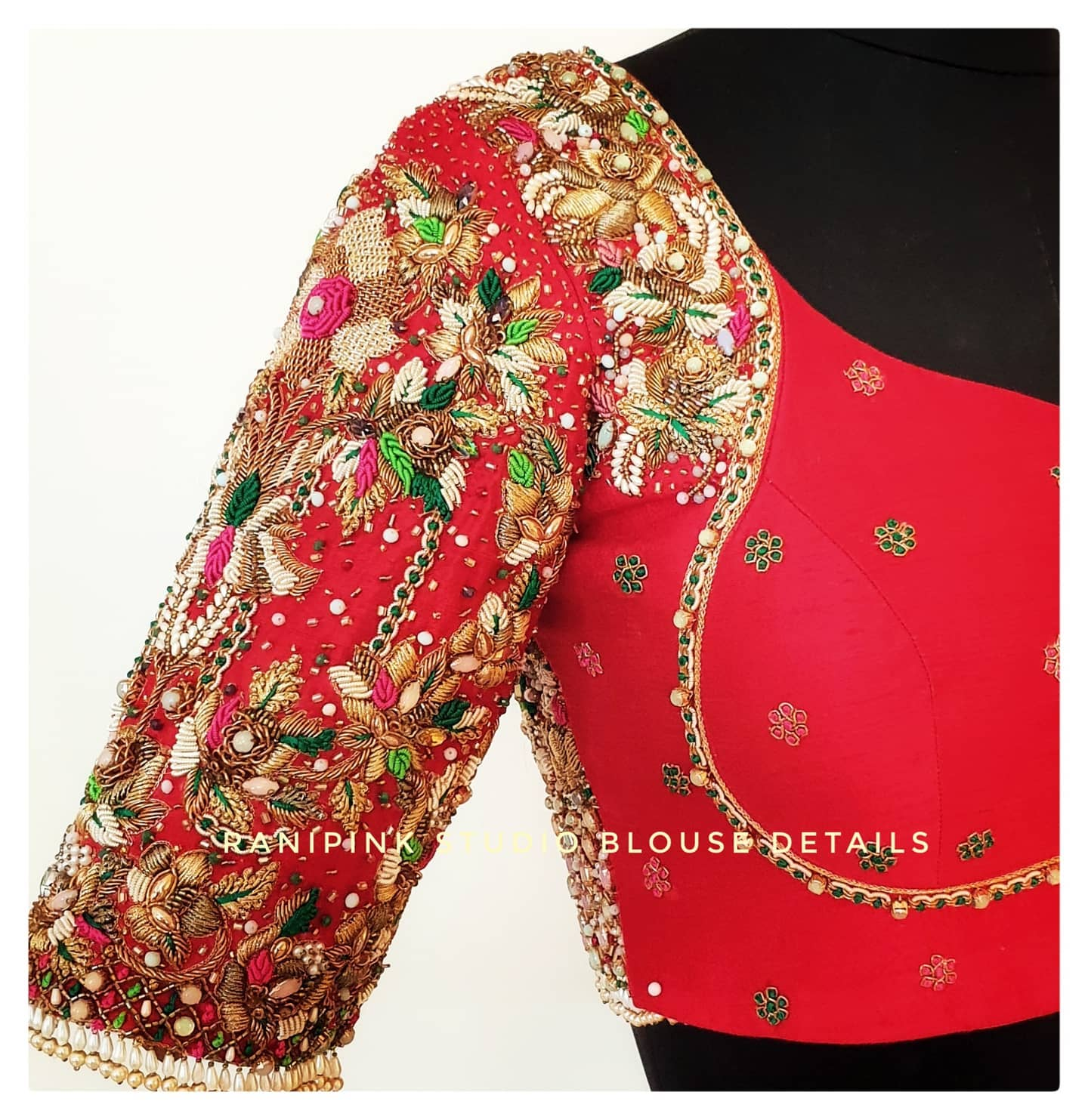 Lovely bridal blouse or wedding blouse with floral and buti hand embroidery bead and stone zardosi work.  2021-07-14