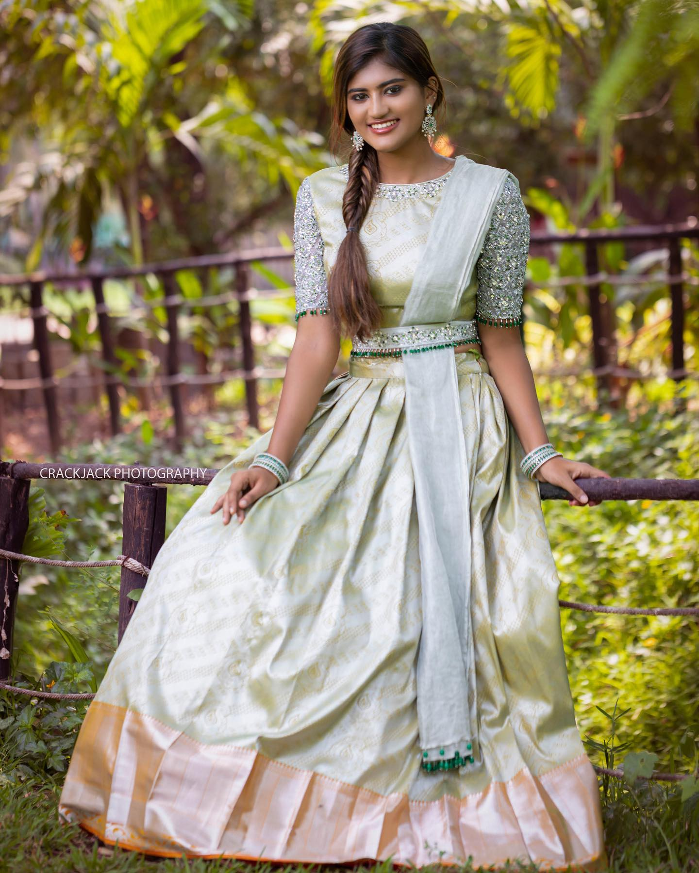 Stunning pista green colorbenarasi lehenga and blouse with pattu dupatta. Blouse and waist belt with stone aari work. 2021-07-14