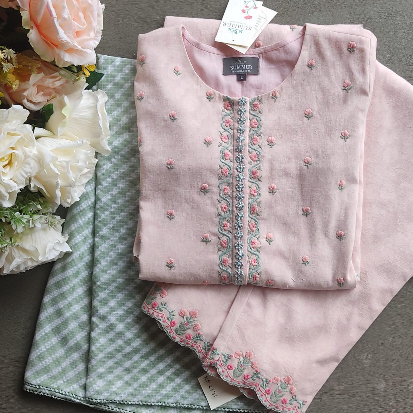 The Manor Gardens Kurta Set : made in cotton jacquard the colours and embroideries of this kurta set are inspired from stately English gardens and tapestries.  For prices and orders please contact  sales team at 9899070899. 2021-07-14
