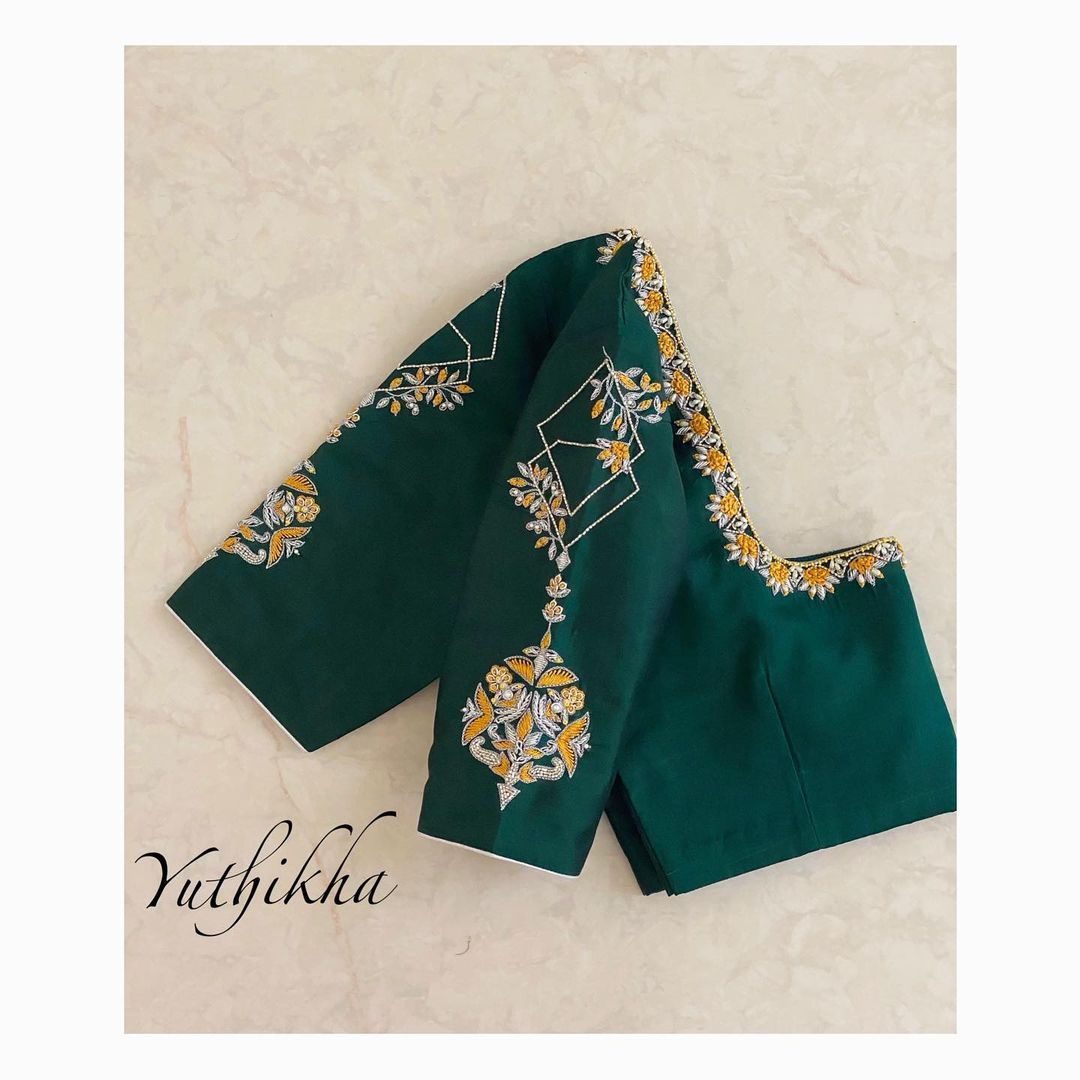 Simple and Elegant embroidery blouse. Beautiful bottle green color blouse with simple rice pearl aari work.  2021-07-14