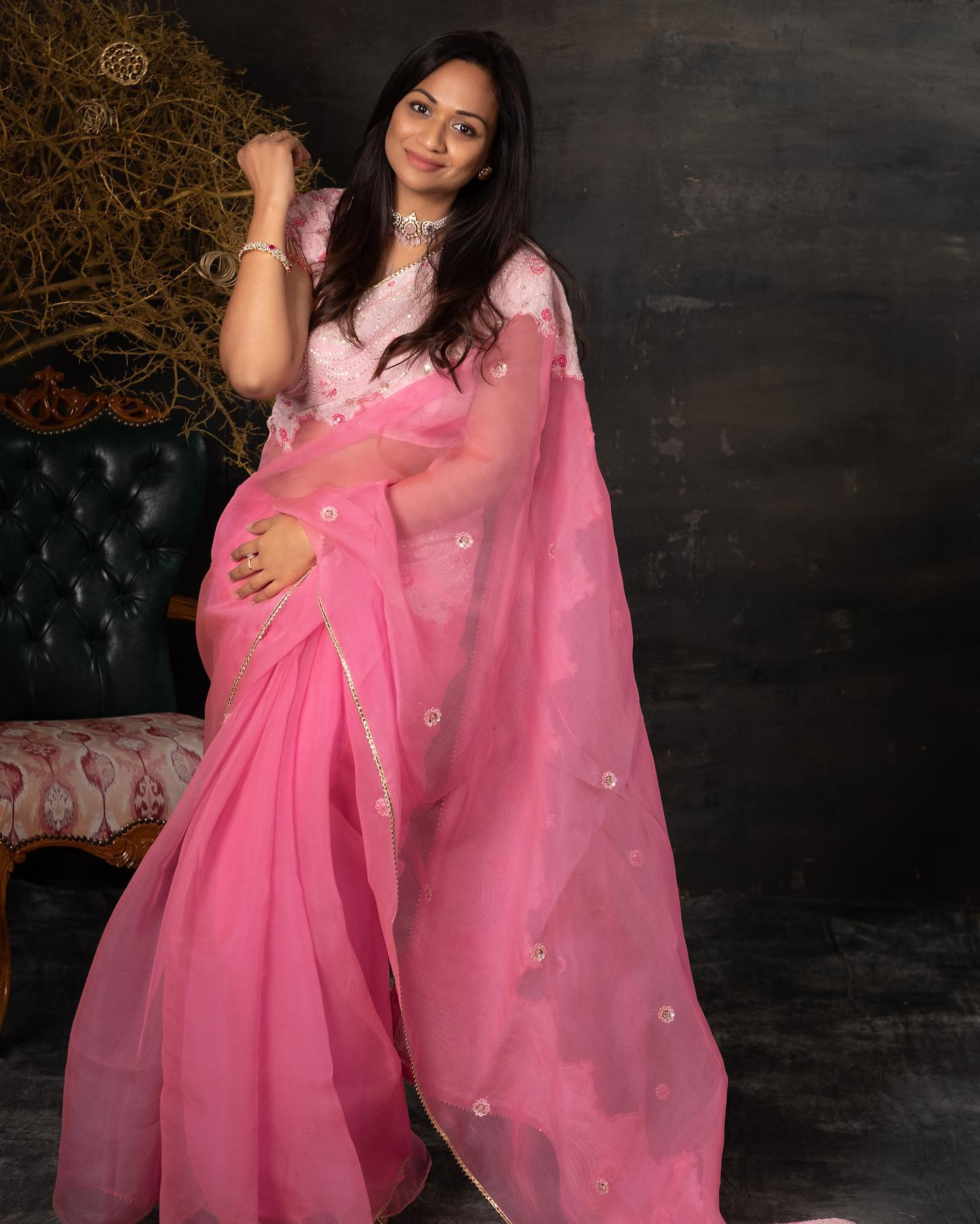 Beautiful blush pink color designer saree and blouse with hand embroidery work.  2021-07-15