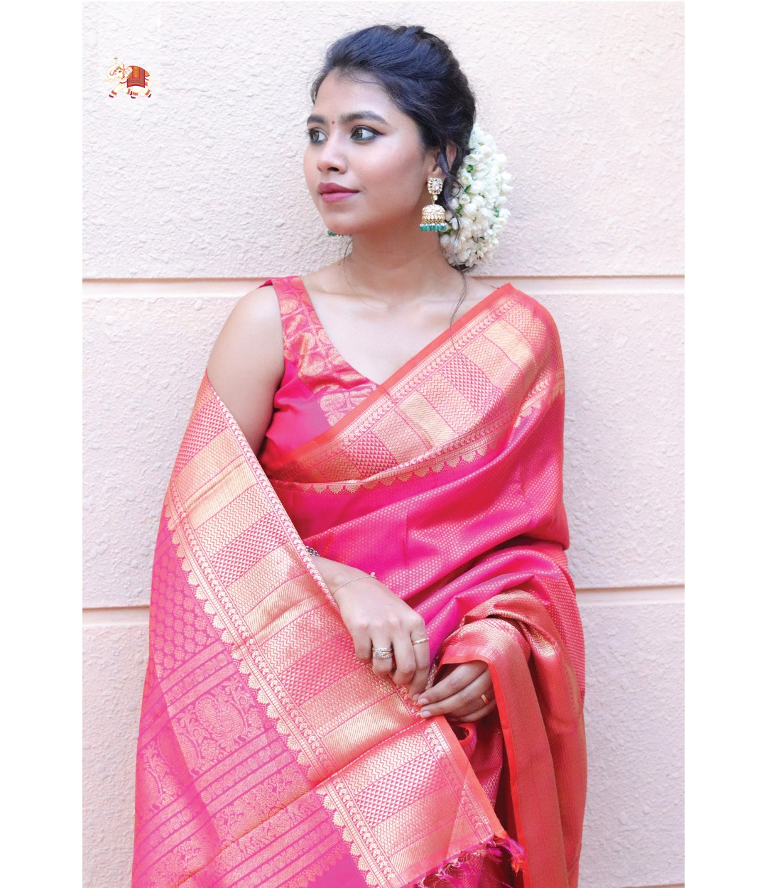 Gorgeous Steffhymerwin in  exquisite pink bridal Kanchi silk saree adorned by intricate motifs paired with Kanchi silk readymade blouse. Elegance personified. 2021-07-15