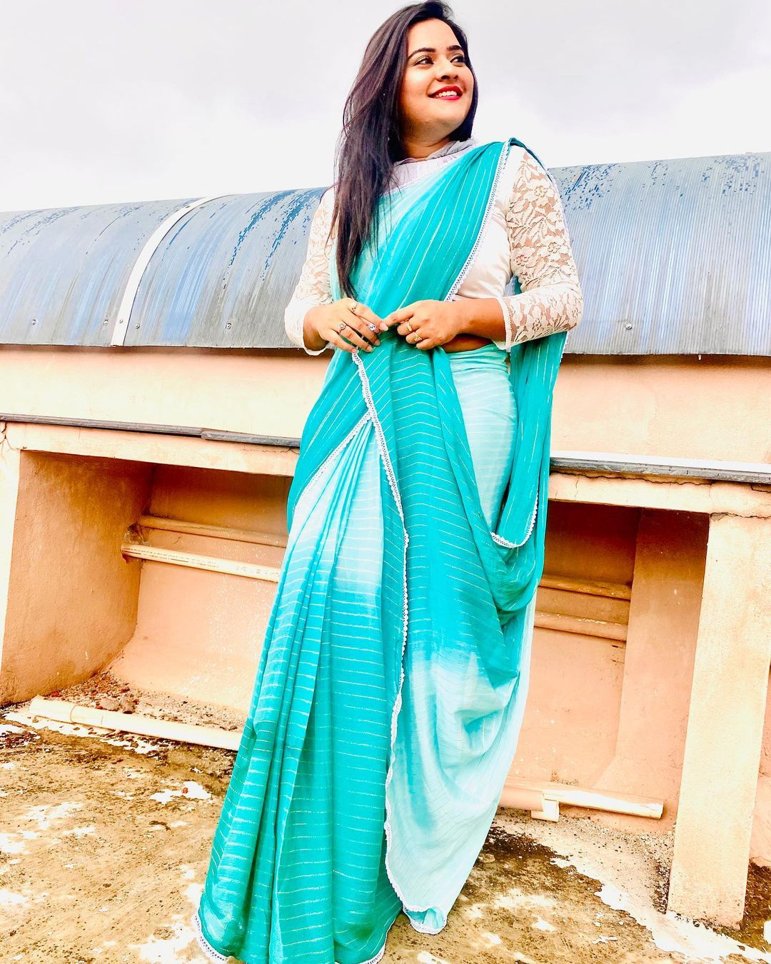 Lovely actress Rohini in white and powder blue designer saree and full sleeve blouse. 2021-07-15