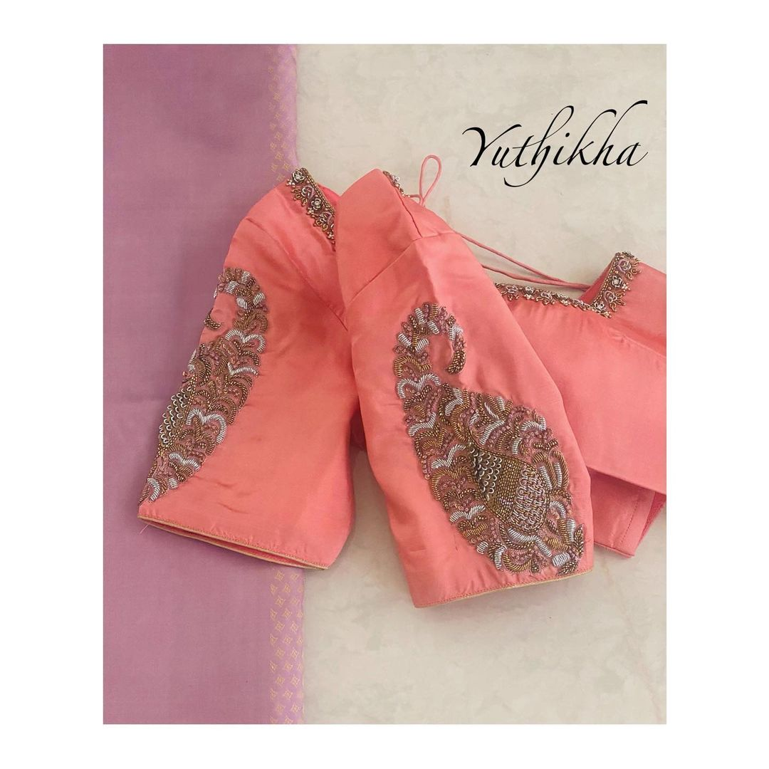 Simple and Elegant embroidery blouse .  For appointments contact 9894231384 2021-07-15