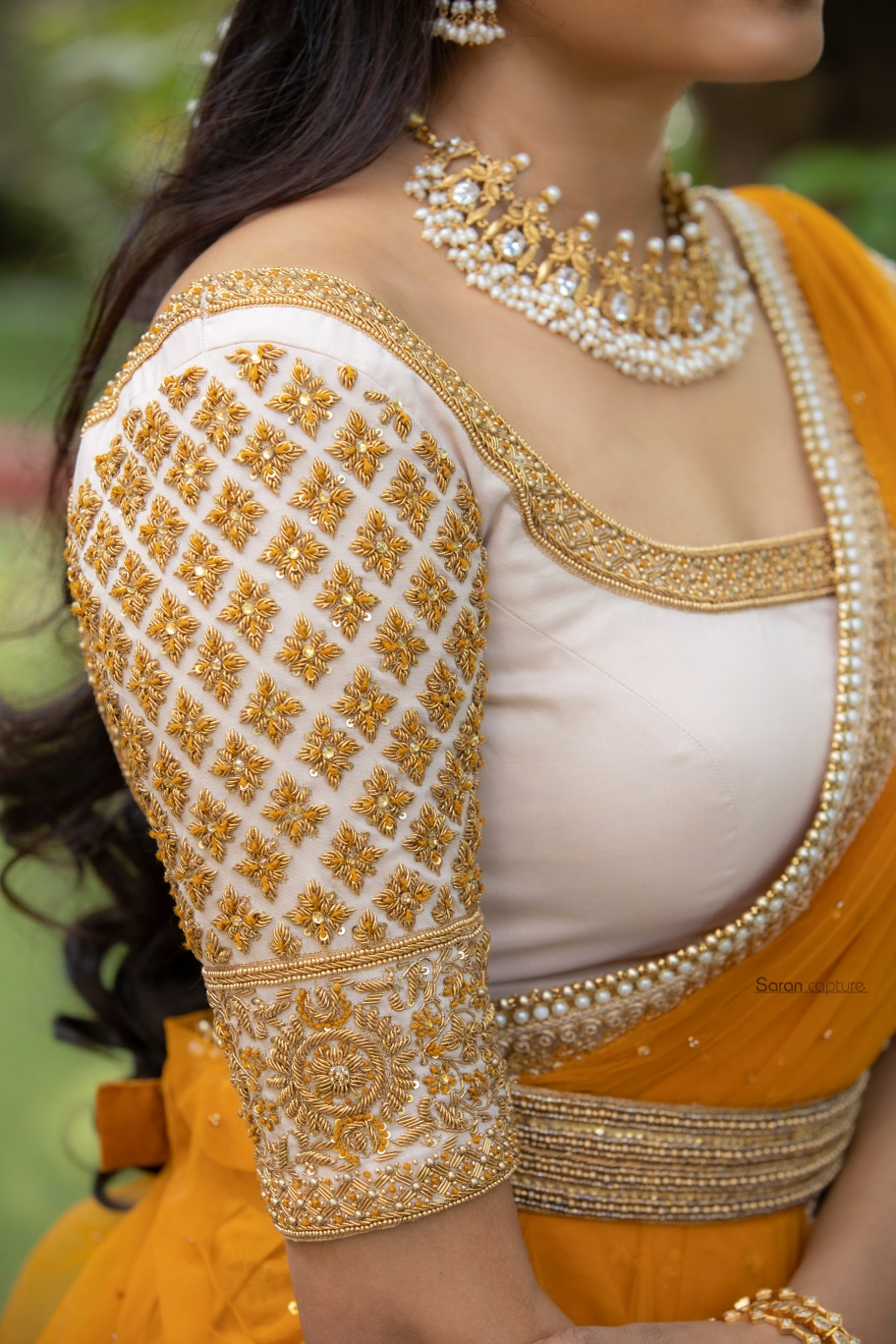 Stunning beige blouse with hand embroidery gold thread maggam work. 2021-07-16