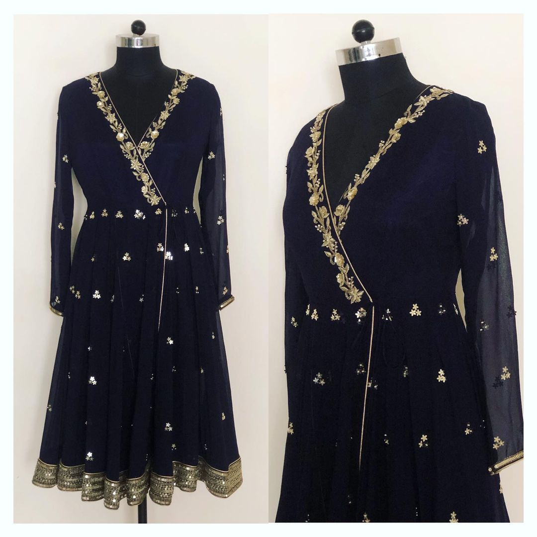 Hand embroidered front open angarkha style anarkali with sharara. Can be customised in any color or size.  To order/customise   WhatsApp at +918527463626 Or Email at shivani@intricado.com.  2021-07-16