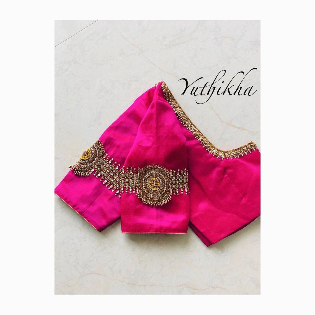 Gorgeous pink color vanki blouse with kundan and bead aari work. 2021-07-16