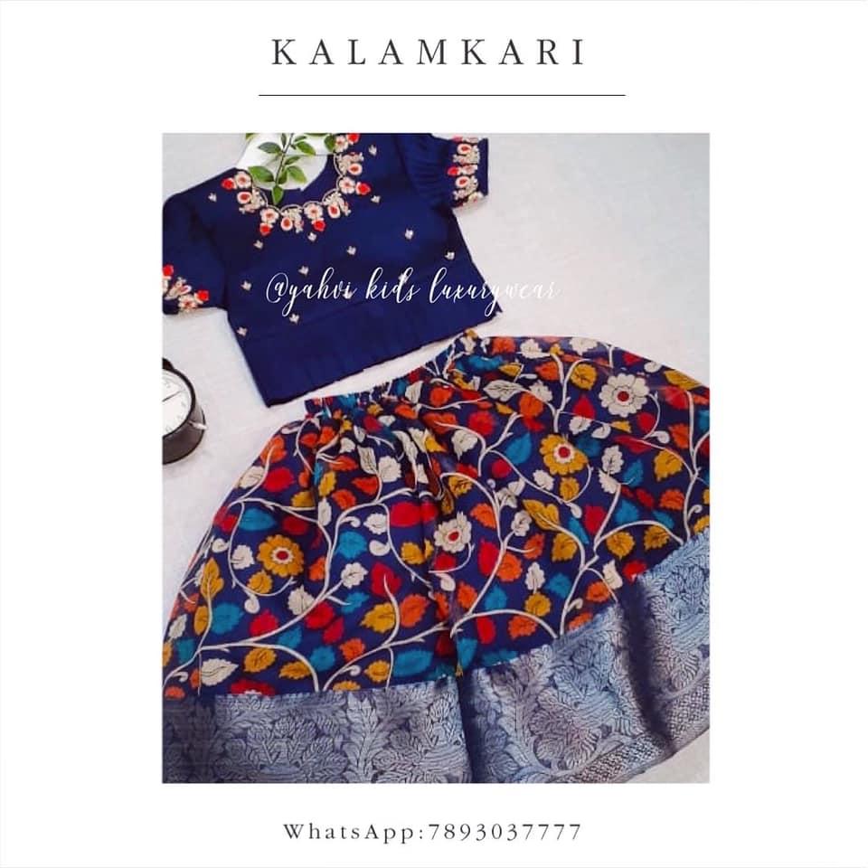 Dark navy blue kalamkari kids lehanga in jute chanderi paired with navy blue  pleated blouse . For orders : whatsapp 7893037777 2021-07-17